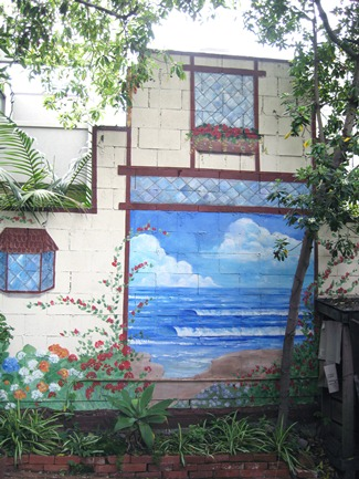 "The ""ocean view"" mural at Redwood Hollow Cottages in La Jolla."