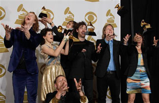 Arcade Fire at the Grammy press area