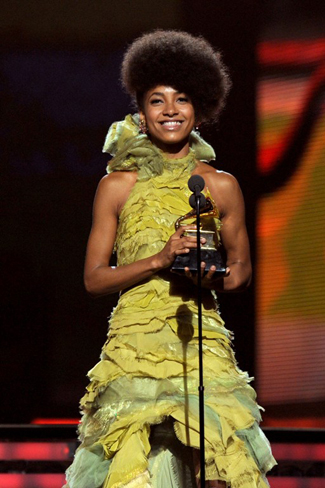 Esperanza Spalding accepting the Best New Artist award