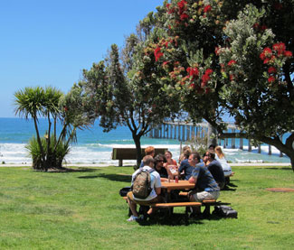 Picnic tables at Snackropolis overlook the ocean and Scripps Pier.