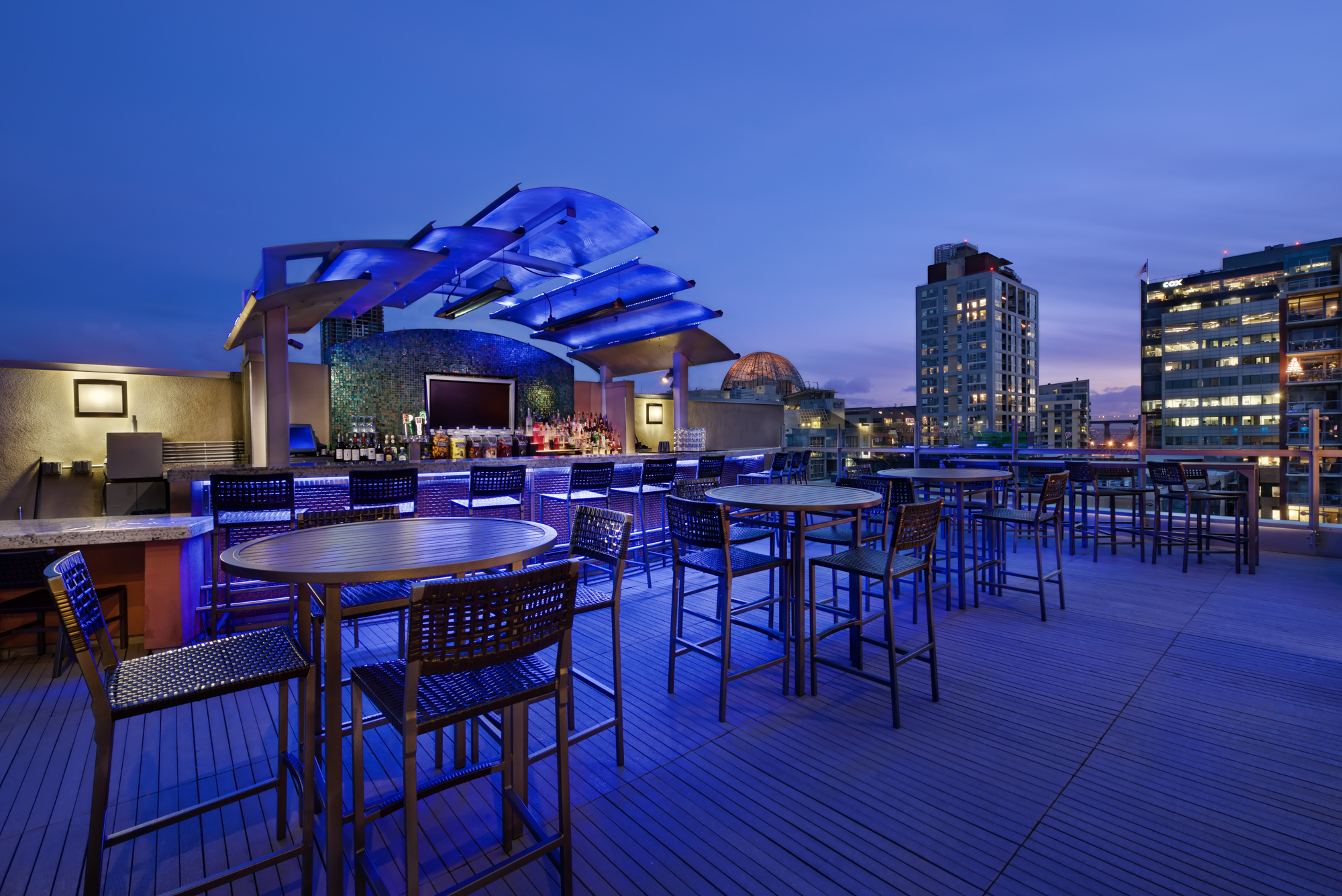 Level 9 rooftop bar for Basement bar san diego