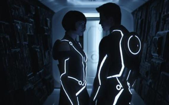 "(L-R) Olivia Wilde as Quorra and Garrett Hedlund as Sam Flynn in ""Tron: Legacy."""