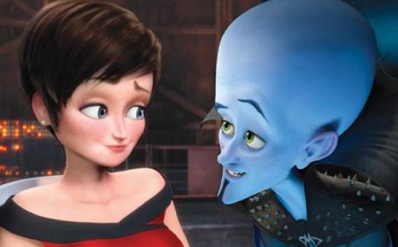 "(L-R) Roxanne Ritchi and Megamind in ""Megamind."""