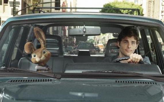 "(L-R) E.B. and James Marsden as Fred in ""Hop."""