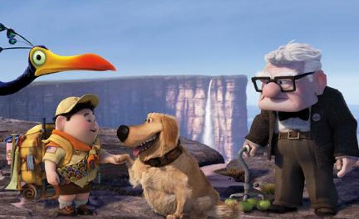"""(L-R) Kevin, Russell, Dug and Carl in """"Up."""""""