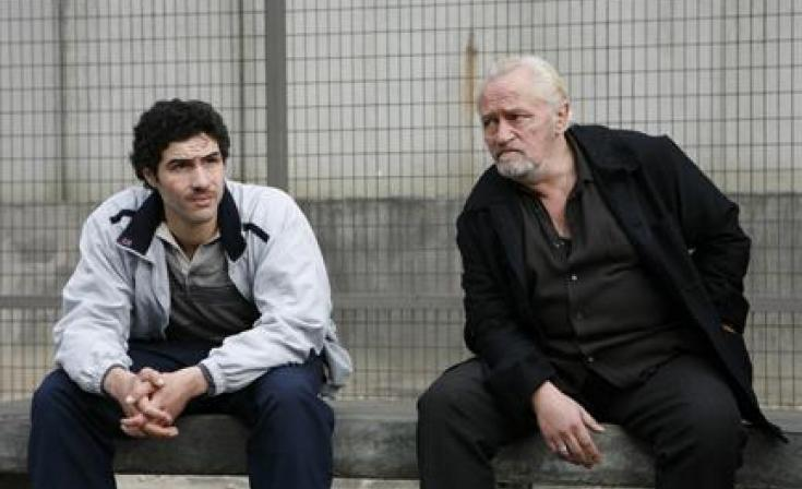 "(L-R) Tahar Rahim as Malik and Niels Arestrup as Cesar Luciani in ""A Prophet."""