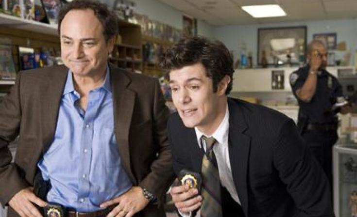 """(L-R) Kevin Pollak as Hunsaker and Adam Brody as Barry Mangold in """"Cop Out."""""""
