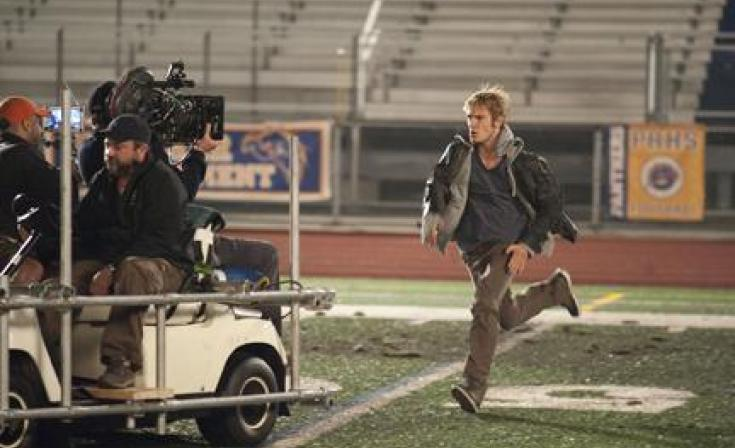 """Alex Pettyfer on the set of """"I Am Number Four."""""""