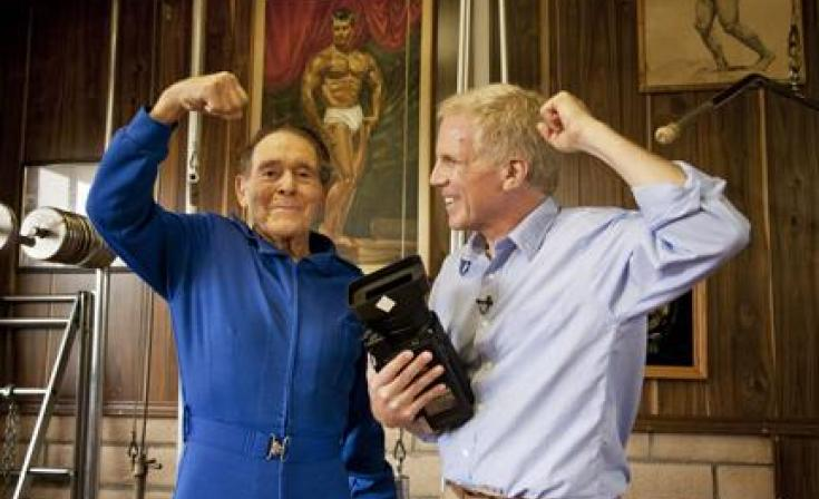 "(L-R) Jack LaLanne and Mark Wexler in ""How to Live Forever."""