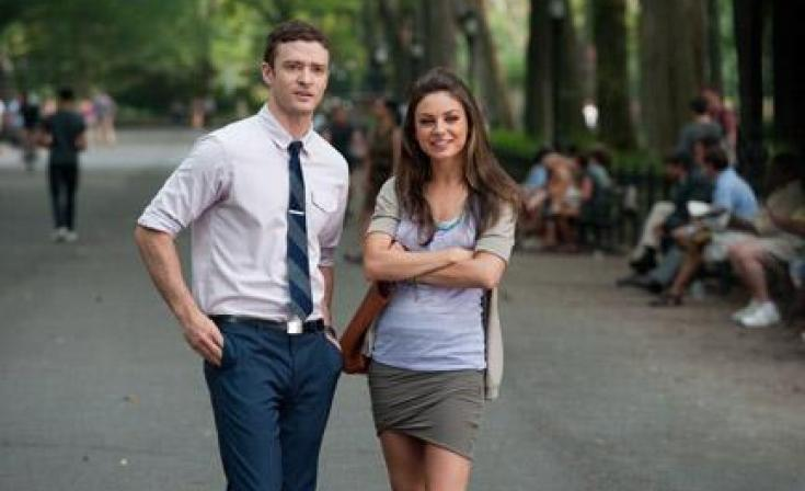 "Justin Timberlake as Dylan and Mila Kunis as Jamie in ""Friends with Benefits."""
