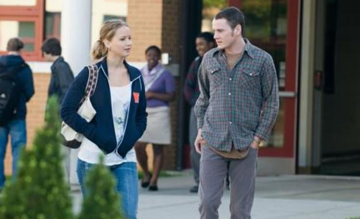 "Jennifer Lawrence as Norah and Anton Yelchin as Porter Black in ""The Beaver."""