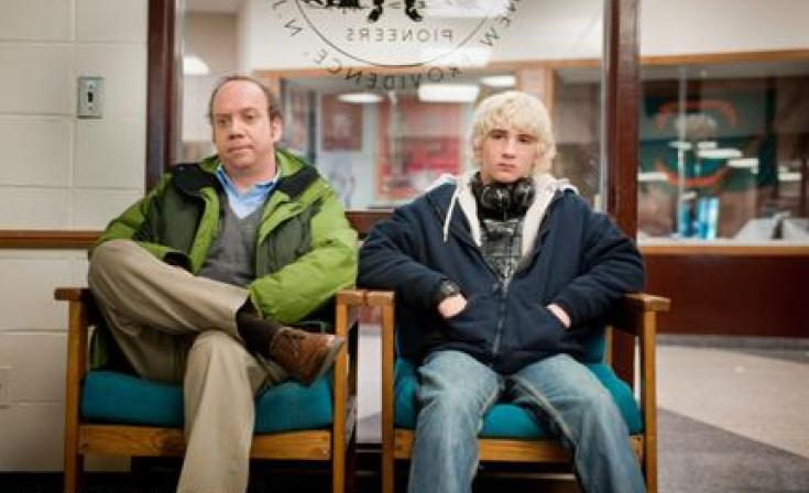 "Paul Giamatti as Mike Flaherty and Alex Shaffer as Kyle Timmons in ""WIn Win."""