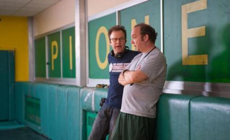 "Director Tom McCarthy and Paul Giamatti on the set of ""Win WIn."""