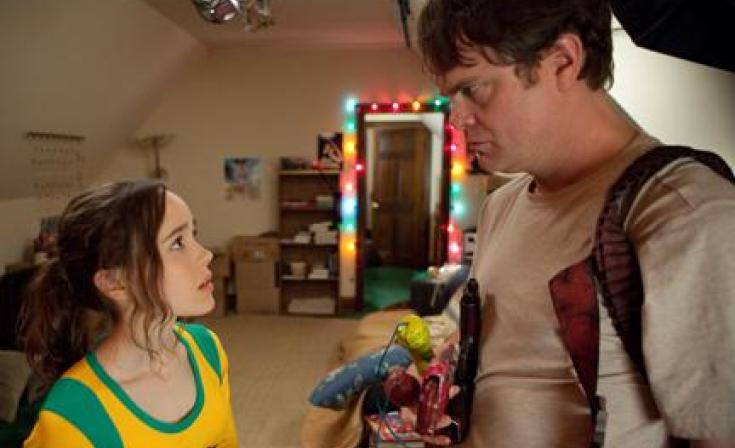 "Ellen Page as Libby and Rainn Wilson as Frank D'Arbo in ""Super."""