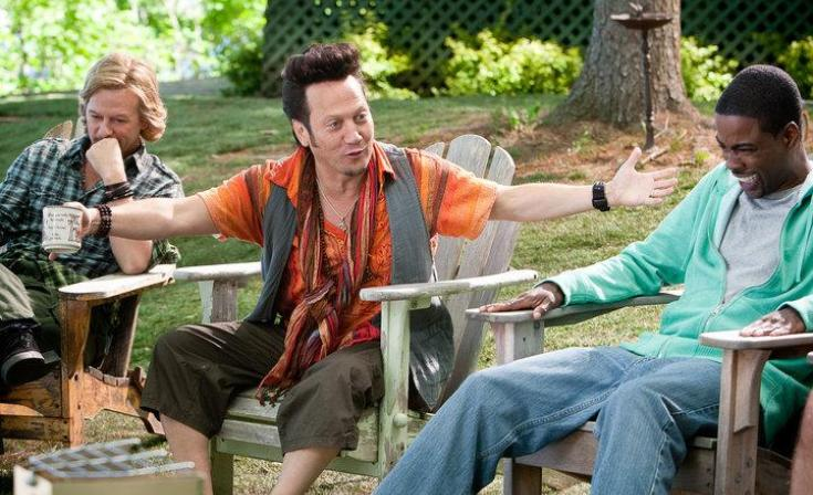 Rob Schneider with David Spade and Chris Rock in Grown Ups