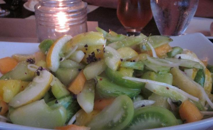 Summer salad of heirloom melons, lemon cucumbers and yellow watermelon