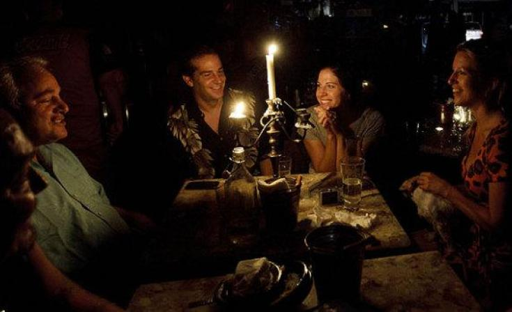 Candlelight dinner with friends