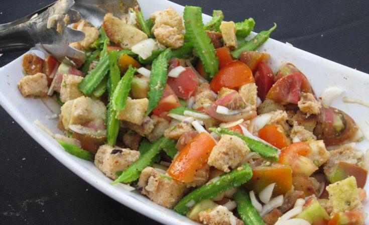 Panzanella salad with Heirloom tomatoes and winged beans