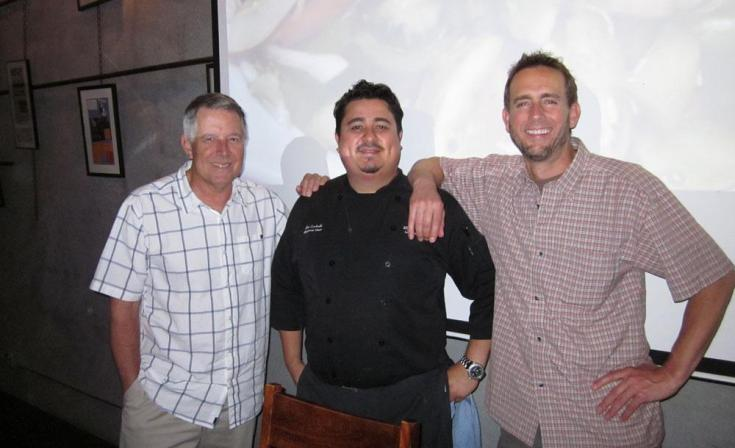 Stone co-founders Steve Wagner and Greg Koch with Chef Carballo